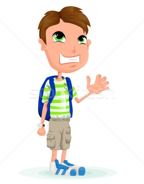 Vector schooljongen cartoon man gelukkig student Stockfoto © lindwa