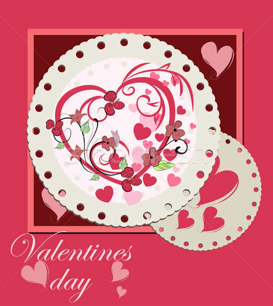 Valentin nap üdvözlőlap design szeretet levél tapéta kártya Stock fotó © lindwa