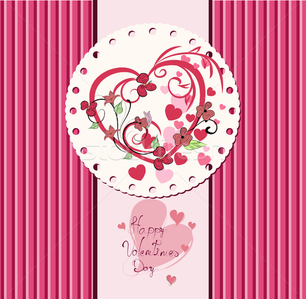 Saint valentin amour feuille wallpaper carte Photo stock © lindwa