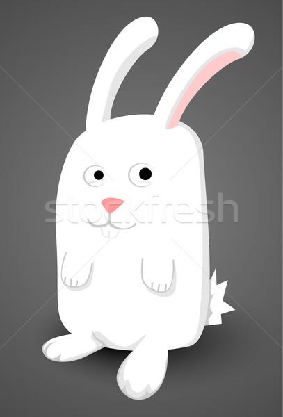 Cute cartoon blanche lapin printemps heureux Photo stock © lindwa