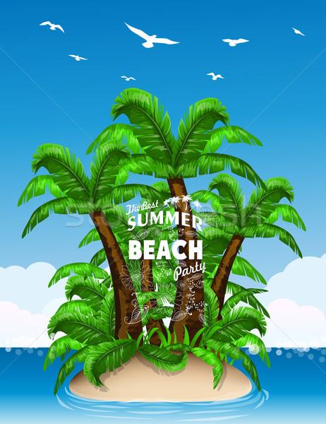 Ada palmiye ağaçları su dizayn yaz palmiye Stok fotoğraf © lindwa