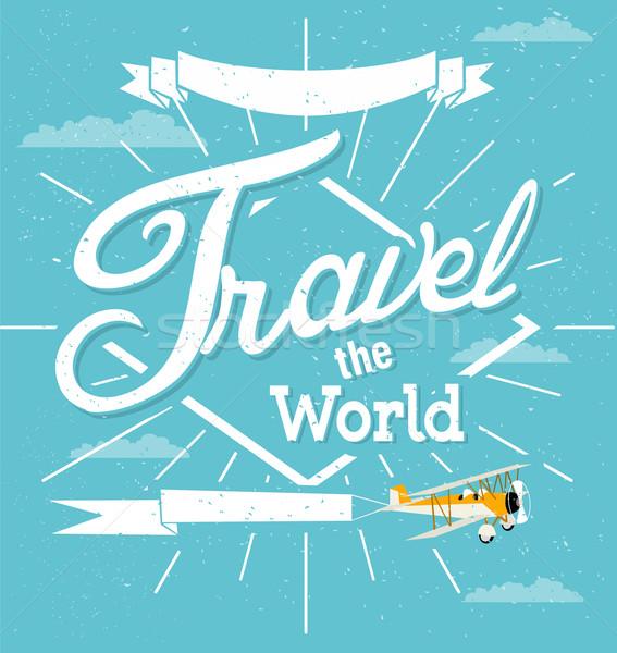 Klasszikus utazás égbolt papír felirat repülőgép Stock fotó © lindwa