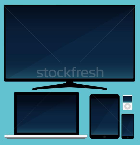 LCD tv tableta portátil negocios Foto stock © lindwa