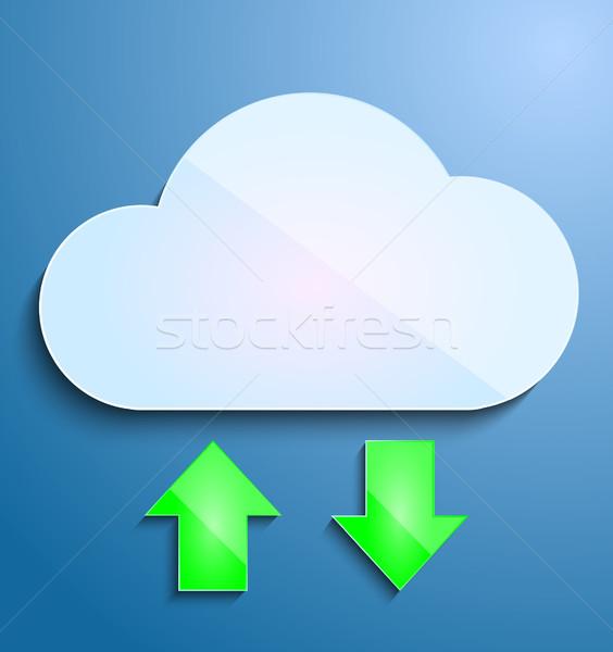 Vektor felhő letöltés feltöltés technológia hálózat Stock fotó © lindwa