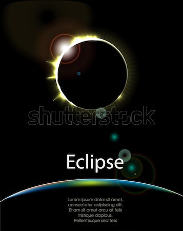 Zonne eclips zon abstract ruimte nacht Stockfoto © lindwa