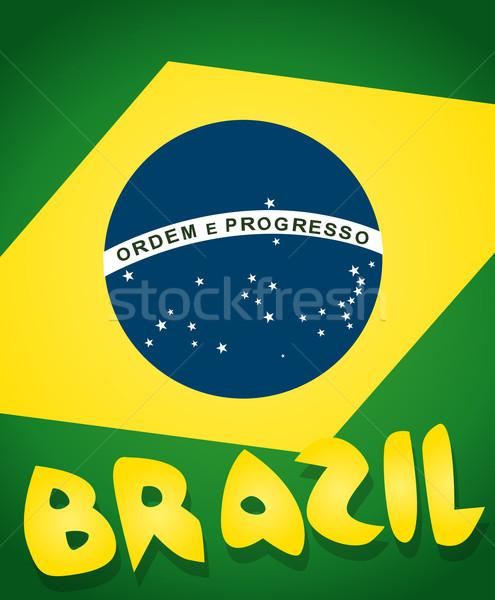 Pavillon Brésil carte football fond signe Photo stock © lindwa