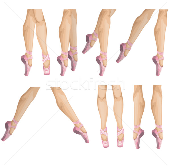 Collectie ballet slippers vector illustratie vrouw Stockfoto © lindwa