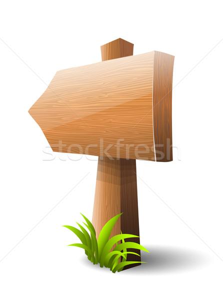 Fa tábla fű fal háttér űr zöld Stock fotó © lindwa
