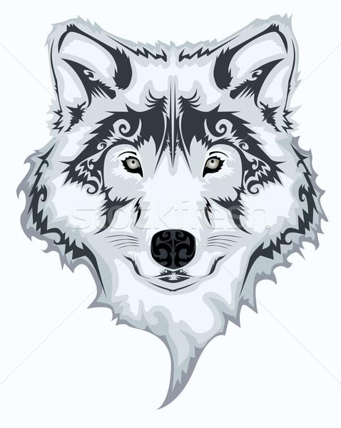 Tribal Wolf Natur Kunst schwarz und weiß Tier Stock foto © lindwa