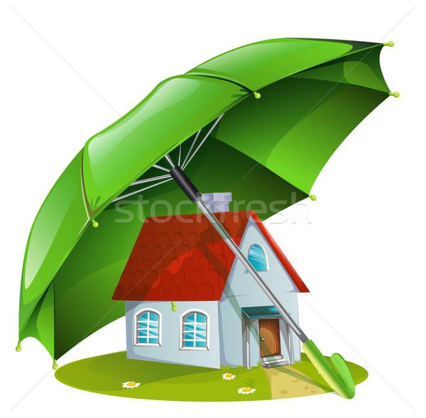 Maison vert parapluie construction design modèle Photo stock © lindwa