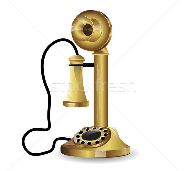 Vetor vintage telefone escritório telefone cabo Foto stock © lindwa