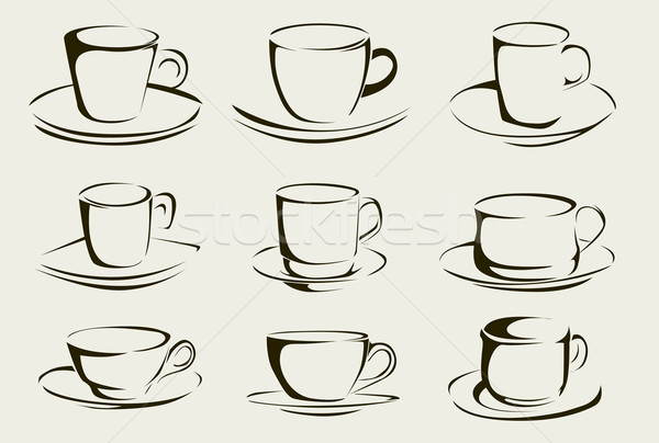 Tasse de café alimentaire amour design boire Photo stock © lindwa