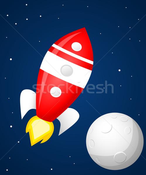 Retro ruimte raket brand glas schip Stockfoto © lindwa