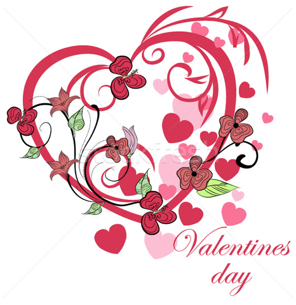 Belle floral coeur printemps mariage amour Photo stock © lindwa