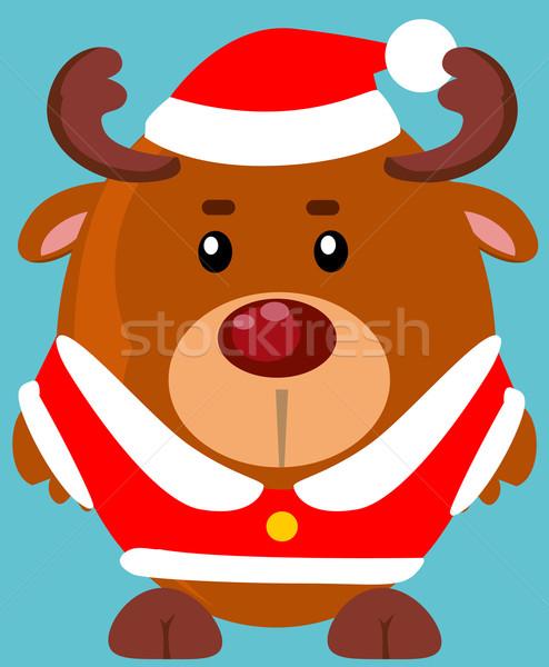 Cute cartoon reindeer Stock photo © lindwa