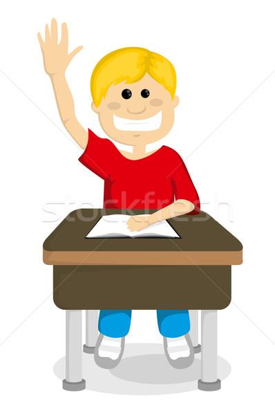 Cartoon écolier main école heureux enfant Photo stock © lindwa