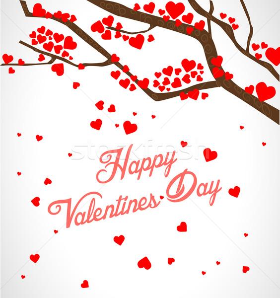 Valentine ağaç kalpler bahar sevmek kalp Stok fotoğraf © lindwa