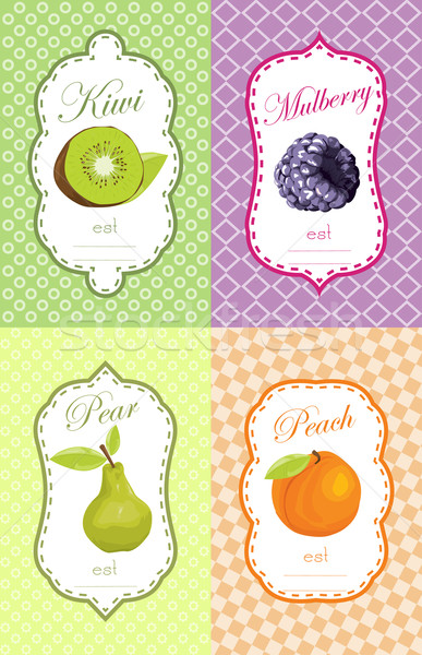Vruchten label ontwerp achtergrond vak marketing Stockfoto © lindwa