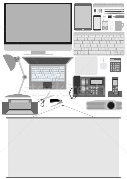 Affaires bureau Electronics papier téléphone maison Photo stock © lindwa