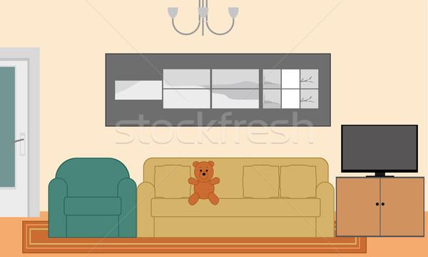 Vektor szoba belső ház bútor lámpa Stock fotó © lindwa