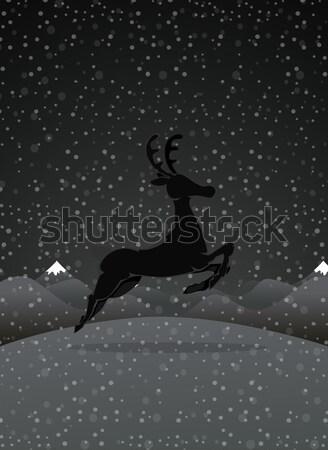 Rénszarvas éjszaka erdő festmény állatok fehér Stock fotó © lindwa
