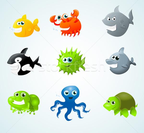 Zeedieren vis gelukkig leuk kleur zwemmen Stockfoto © lindwa