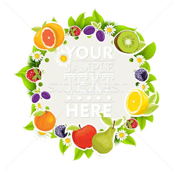Fruits frontière alimentaire fitness été fraise Photo stock © lindwa