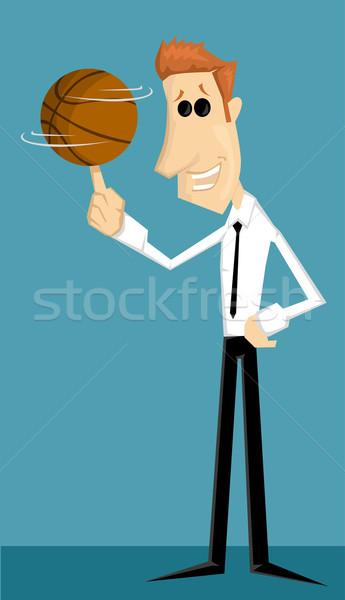 Cartoon employé de bureau basket affaires sourire étudiant Photo stock © lindwa