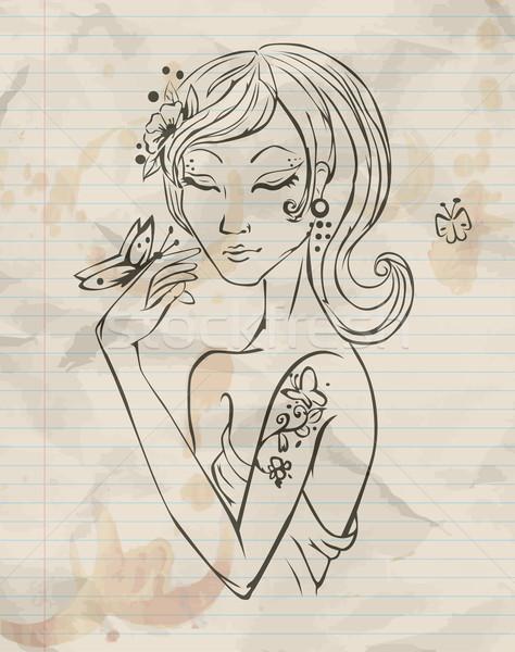 Dessinés à la main grunge printemps fille visage lumière Photo stock © lindwa