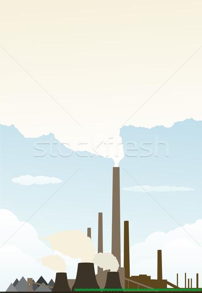 Erőmű épület füst városi ipar festmény Stock fotó © lindwa