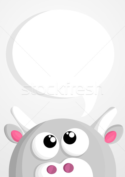 Cute cartoon cow with speech bubble Stock photo © lindwa