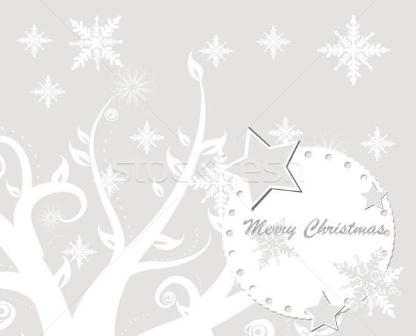 Joyeux arbre lumière neige beauté Photo stock © lindwa
