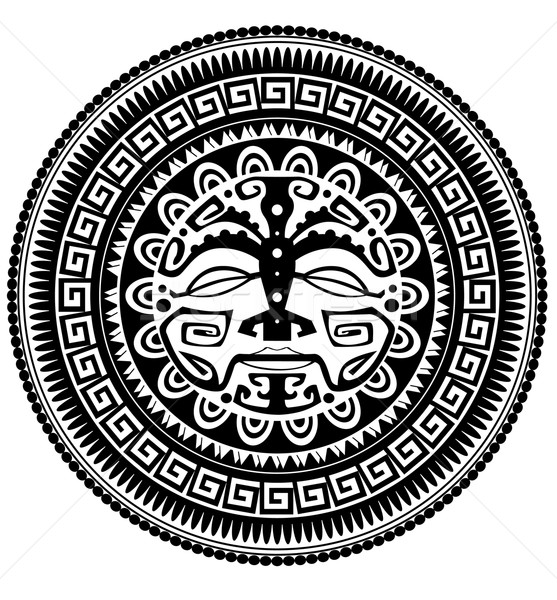 Polinezyjski tatuaż projektu boga wzór rysunek Zdjęcia stock © lindwa