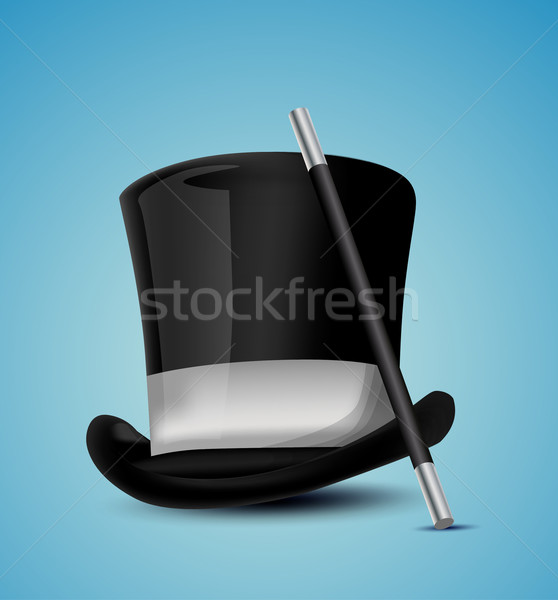 Büyücü şapka soyut beyaz sirk büyü Stok fotoğraf © lindwa