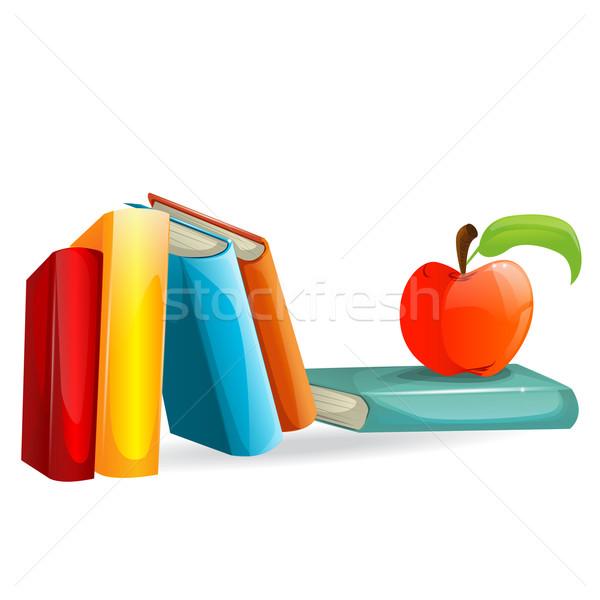 Vetor livros maçã ilustração escolas educação Foto stock © lindwa