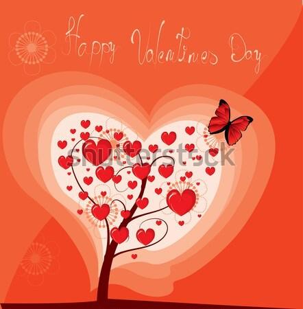Sevgililer günü ağaç sevmek mutlu sanat alan Stok fotoğraf © lindwa