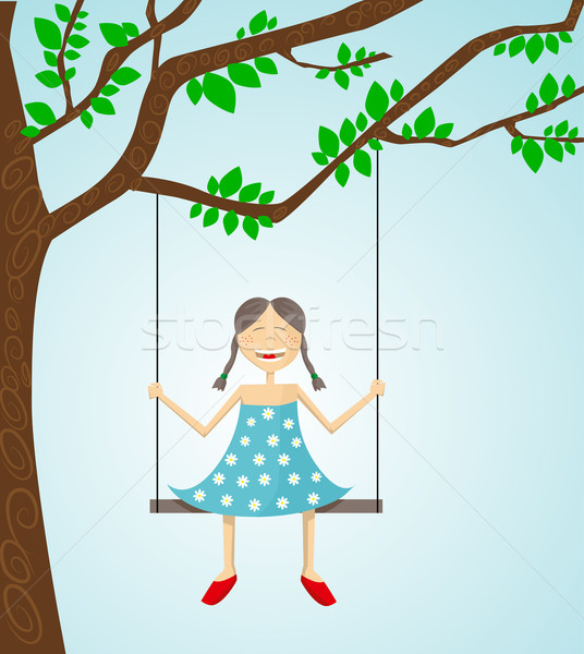 Little girl swinging Stock photo © lindwa