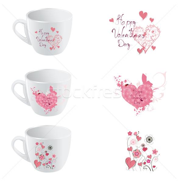 Valentine dia copo conjunto flores amor Foto stock © lindwa