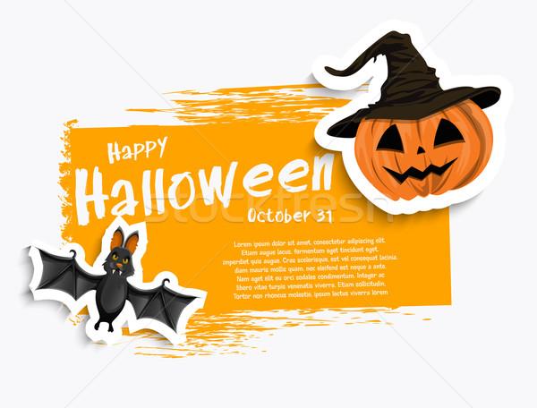 Halloween glücklich schwarz Zeichnung Feier bat Stock foto © lindwa