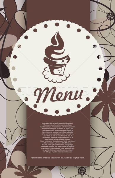 Dessert menu papier restaurant signe Ouvrir la Photo stock © lindwa