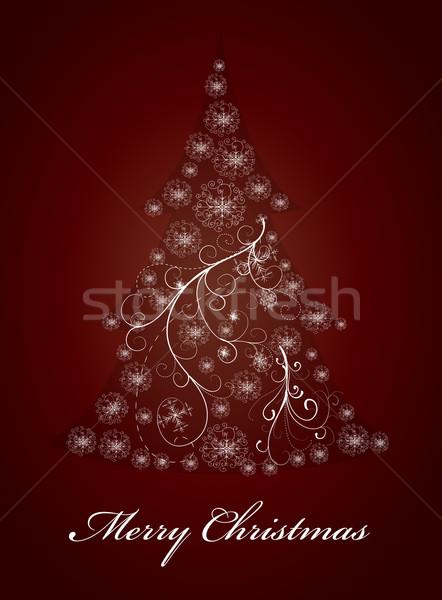 Abstract sneeuwvlok kerstboom sneeuw winter kleur Stockfoto © lindwa