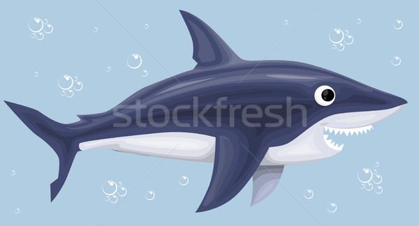 Karikatür köpekbalığı su balık ağız dişler Stok fotoğraf © lindwa