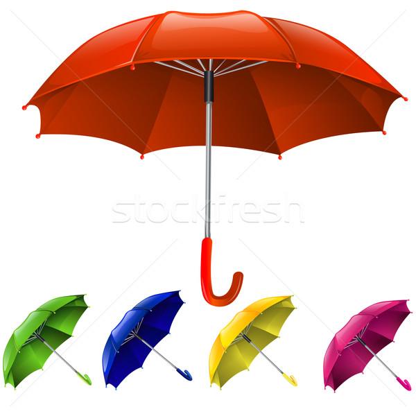 Esernyők szett divat eső művészet narancs Stock fotó © lindwa