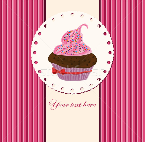 card with cup cake Stock photo © lindwa