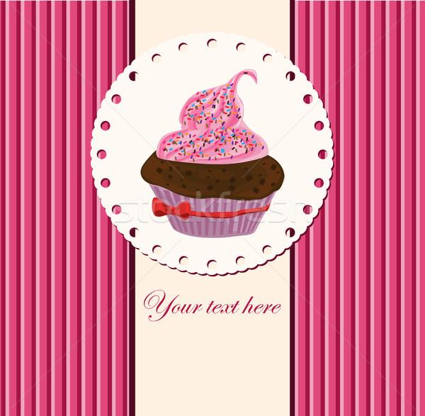 Carte tasse gâteau alimentaire beauté fraise Photo stock © lindwa
