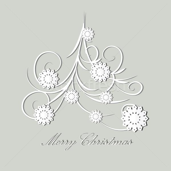 Stilizált karácsonyfa boldog háttér tél kártya Stock fotó © lindwa