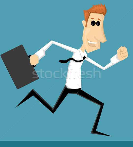 çalışma karikatür ofis çalışanı ofis zaman işçi Stok fotoğraf © lindwa