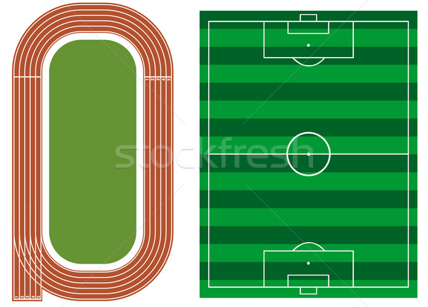 Athletics track with soccer field Stock photo © lindwa