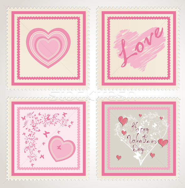 Saint valentin timbres coeur fond mail Photo stock © lindwa