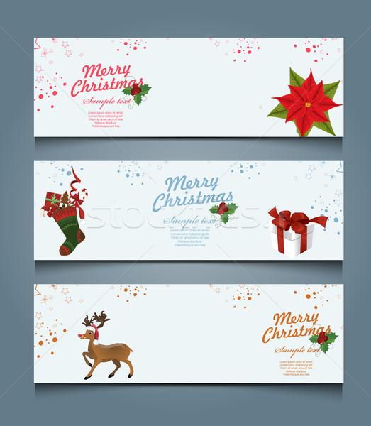 Noel afişler dizayn kar sanat yeşil Stok fotoğraf © lindwa